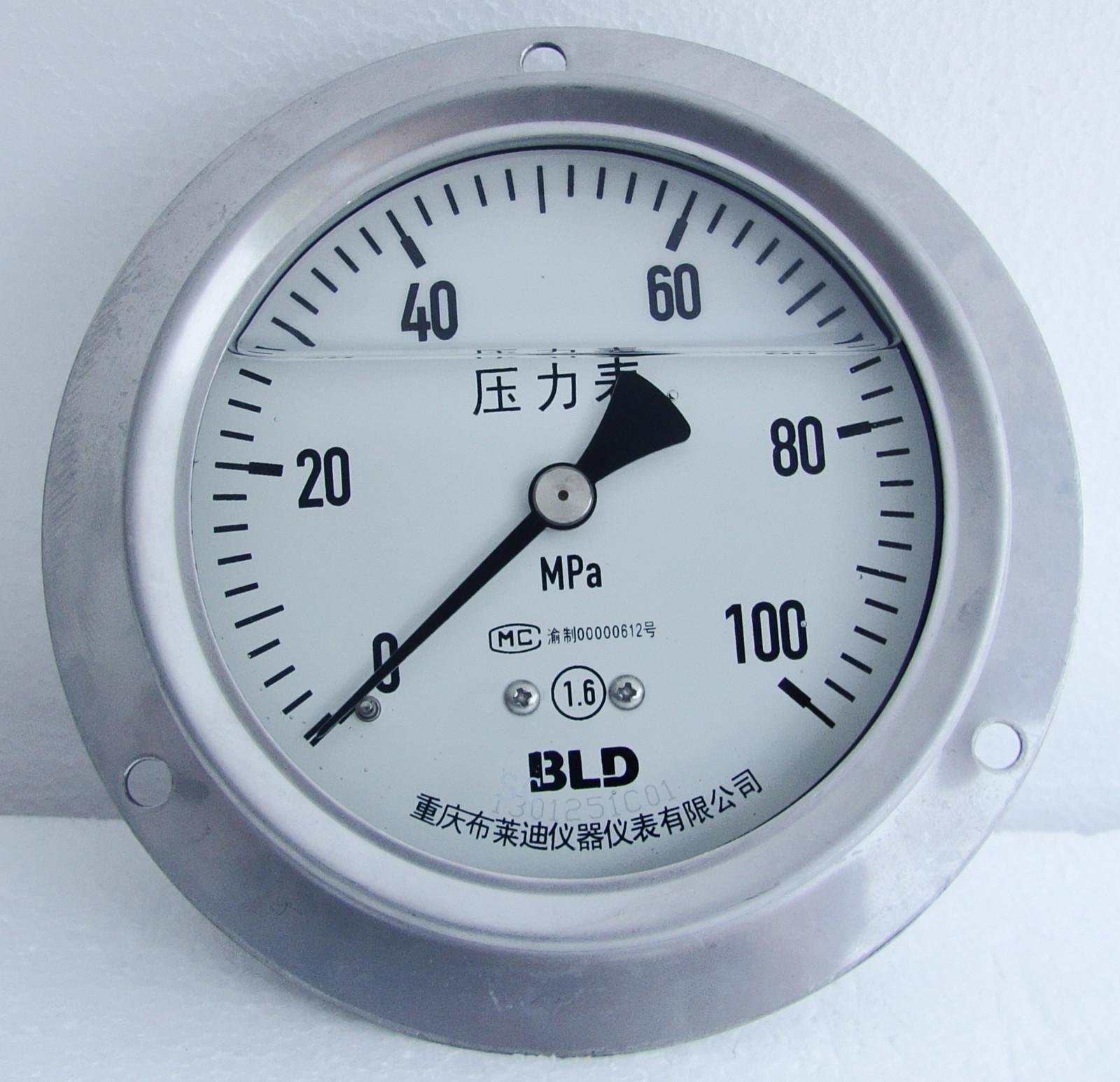 全鋼耐震壓力表軸向帶邊 YTHN-100.BZ  100MPa